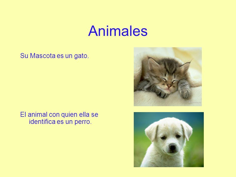 Animales Su Mascota es un gato. El animal con quien ella se identifica es un perro.