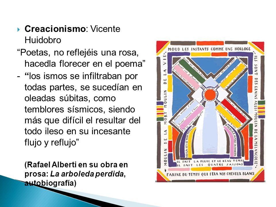 Creacionismo: Vicente Huidobro Poetas, no reflejéis una rosa, hacedla florecer en el poema - los ismos se infiltraban por todas partes, se sucedían en