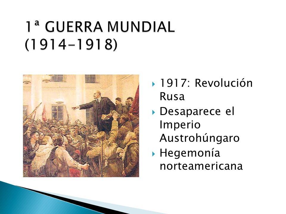 1917: Revolución Rusa Desaparece el Imperio Austrohúngaro Hegemonía norteamericana