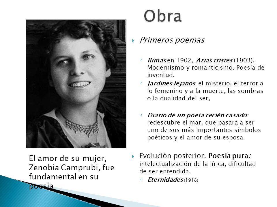 Primeros poemas Rimas en 1902, Arias tristes (1903). Modernismo y romanticismo. Poesía de juventud. Jardines lejanos: el misterio, el terror a lo feme
