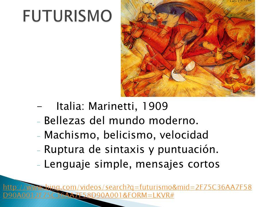 - Italia: Marinetti, 1909 - Bellezas del mundo moderno. - Machismo, belicismo, velocidad - Ruptura de sintaxis y puntuación. - Lenguaje simple, mensaj