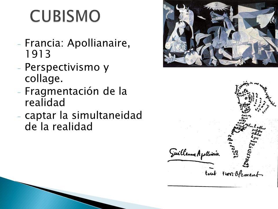 Cubismo Caligramas Humor ruptura en Puntuación orden de las palabras desaparición de la rima.