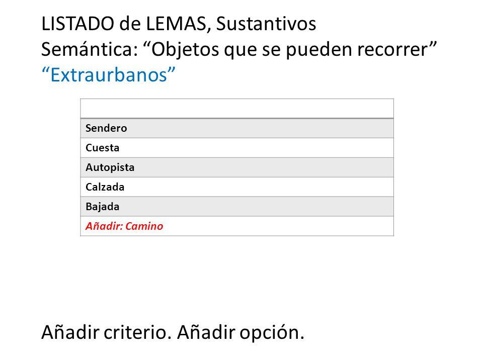 LISTADO de LEMAS, Sustantivos Semántica: Objetos que se pueden recorrer Extraurbanos Añadir criterio.