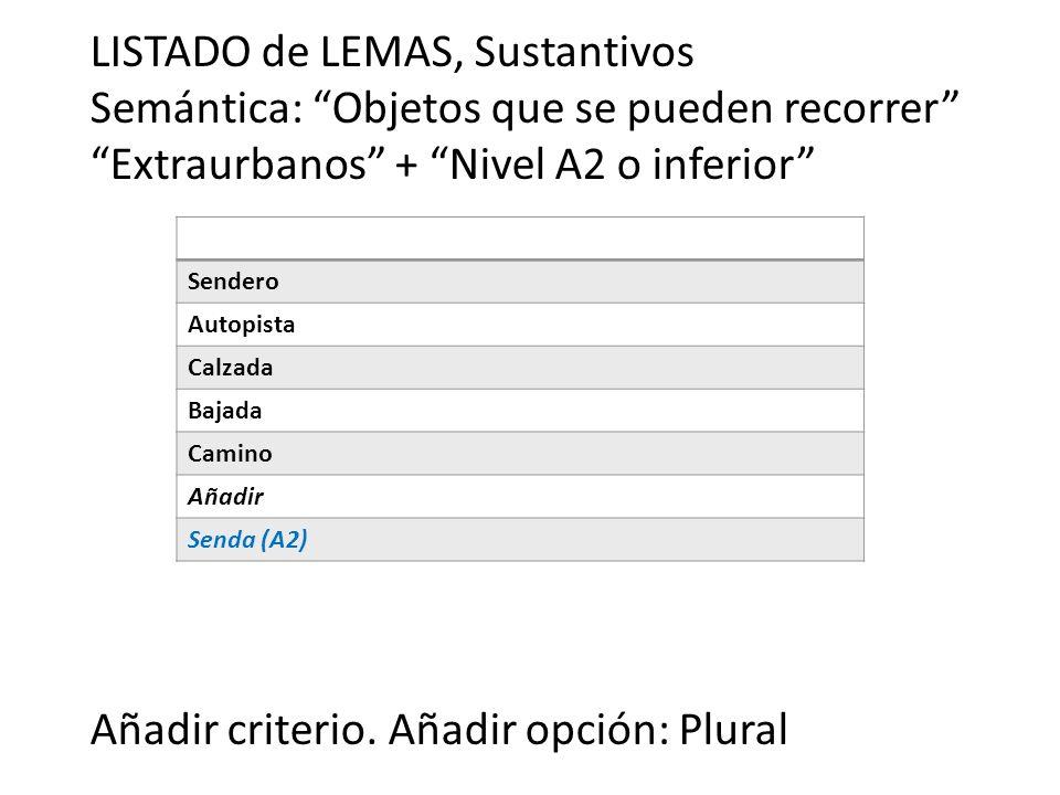 LISTADO de LEMAS, Sustantivos Semántica: Objetos que se pueden recorrer Extraurbanos + Nivel A2 o inferior Añadir criterio. Añadir opción: Plural Send
