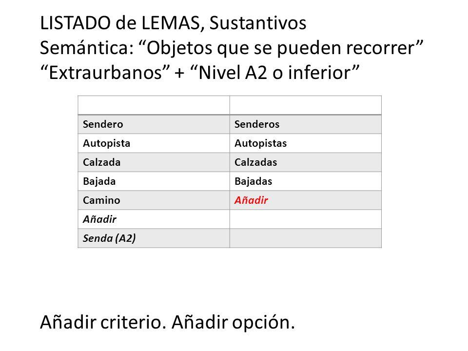 LISTADO de LEMAS, Sustantivos Semántica: Objetos que se pueden recorrer Extraurbanos + Nivel A2 o inferior Añadir criterio. Añadir opción. SenderoSend