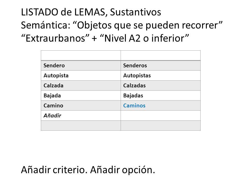 LISTADO de LEMAS, Sustantivos Semántica: Objetos que se pueden recorrer Extraurbanos + Nivel A2 o inferior Añadir criterio.