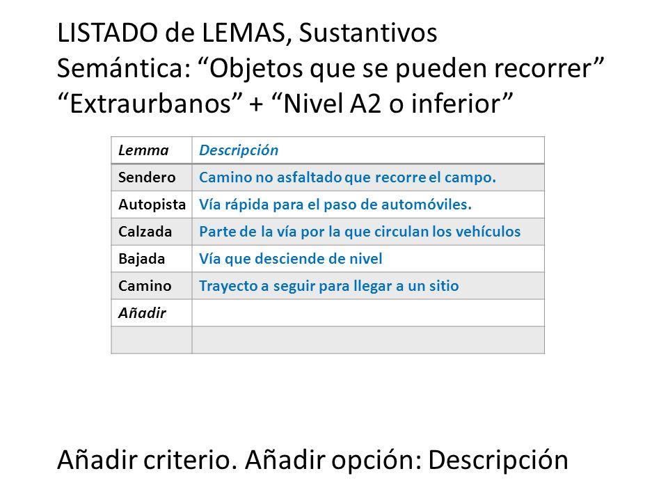 LISTADO de LEMAS, Sustantivos Semántica: Objetos que se pueden recorrer Extraurbanos + Nivel A2 o inferior Añadir criterio. Añadir opción: Descripción