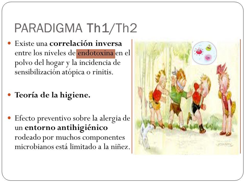 PARADIGMA Th1/Th2 Un SI Th2-dominante se desarrolla en un individuo cuando está expuesto a alérgenos sin exposición previa a componentes microbianos, en etapas tempranas de la vida.