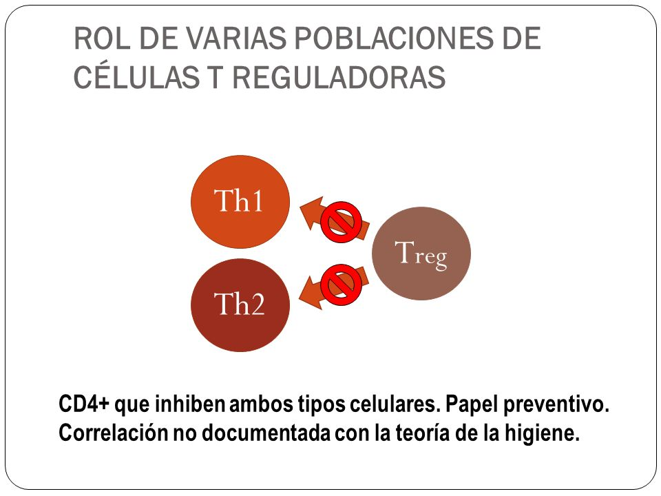 ROL DE VARIAS POBLACIONES DE CÉLULAS T REGULADORAS n T reg T reg Timo CD4 + CD25 alto (en humano) Factor de transcripción Foxp3 PREVENTIVO a T reg T reg de memoria.