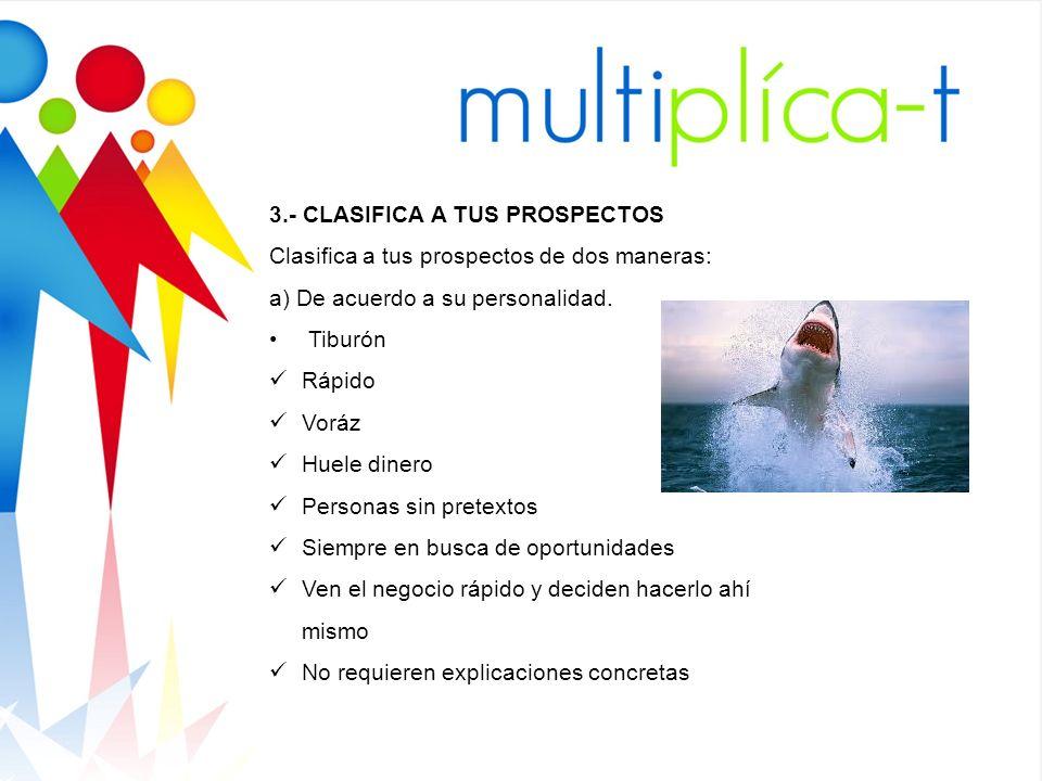 3.- CLASIFICA A TUS PROSPECTOS Clasifica a tus prospectos de dos maneras: a) De acuerdo a su personalidad. Tiburón Rápido Voráz Huele dinero Personas