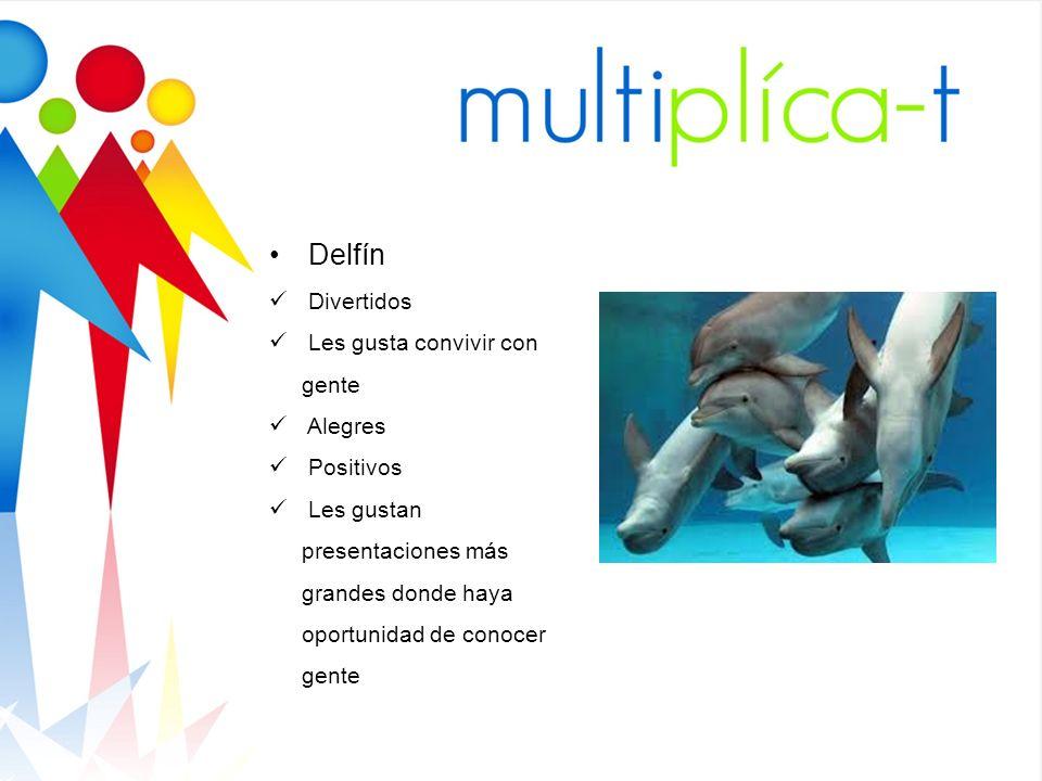Delfín Divertidos Les gusta convivir con gente Alegres Positivos Les gustan presentaciones más grandes donde haya oportunidad de conocer gente