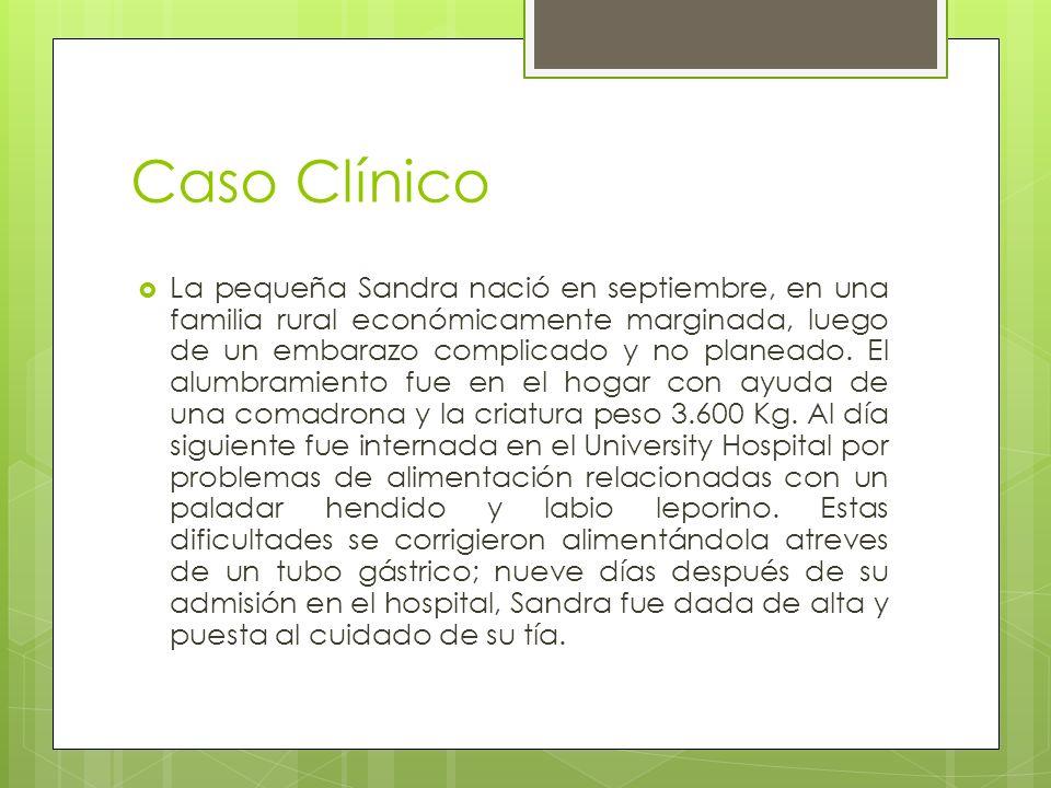 Caso Clínico La pequeña Sandra nació en septiembre, en una familia rural económicamente marginada, luego de un embarazo complicado y no planeado. El a