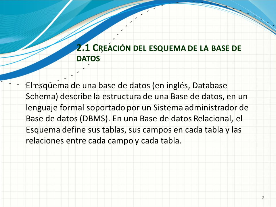 2 2.1 C REACIÓN DEL ESQUEMA DE LA BASE DE DATOS El esquema de una base de datos (en inglés, Database Schema) describe la estructura de una Base de datos, en un lenguaje formal soportado por un Sistema administrador de Base de datos (DBMS).
