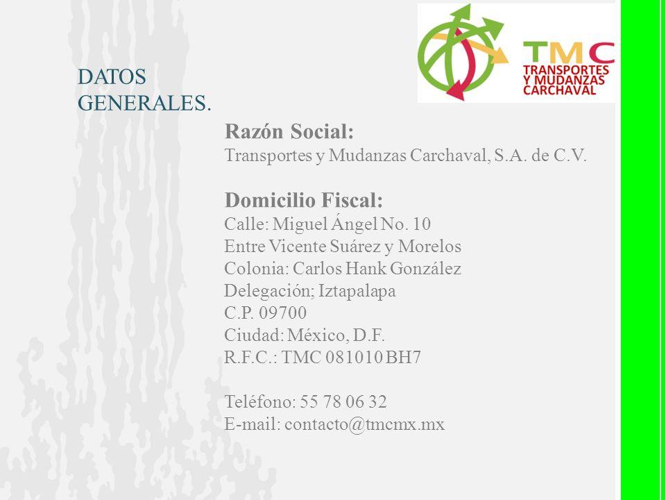 Razón Social: Transportes y Mudanzas Carchaval, S.A. de C.V. Domicilio Fiscal: Calle: Miguel Ángel No. 10 Entre Vicente Suárez y Morelos Colonia: Carl