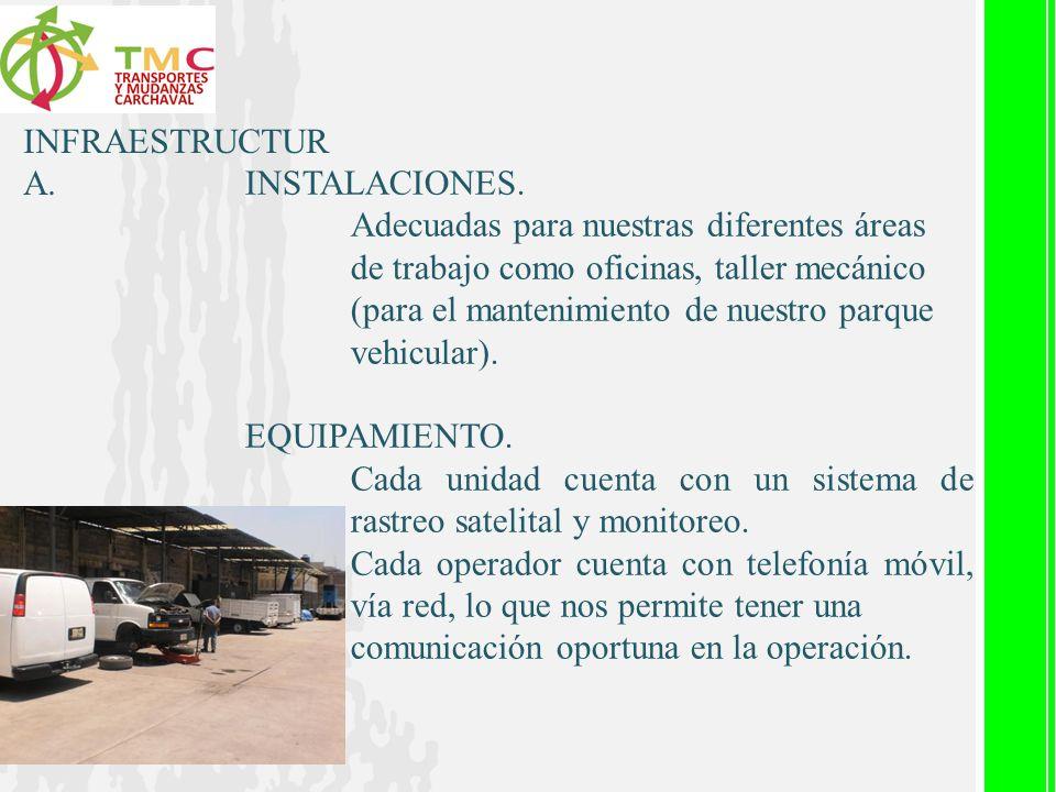 INFRAESTRUCTUR A. INSTALACIONES. Adecuadas para nuestras diferentes áreas de trabajo como oficinas, taller mecánico (para el mantenimiento de nuestro