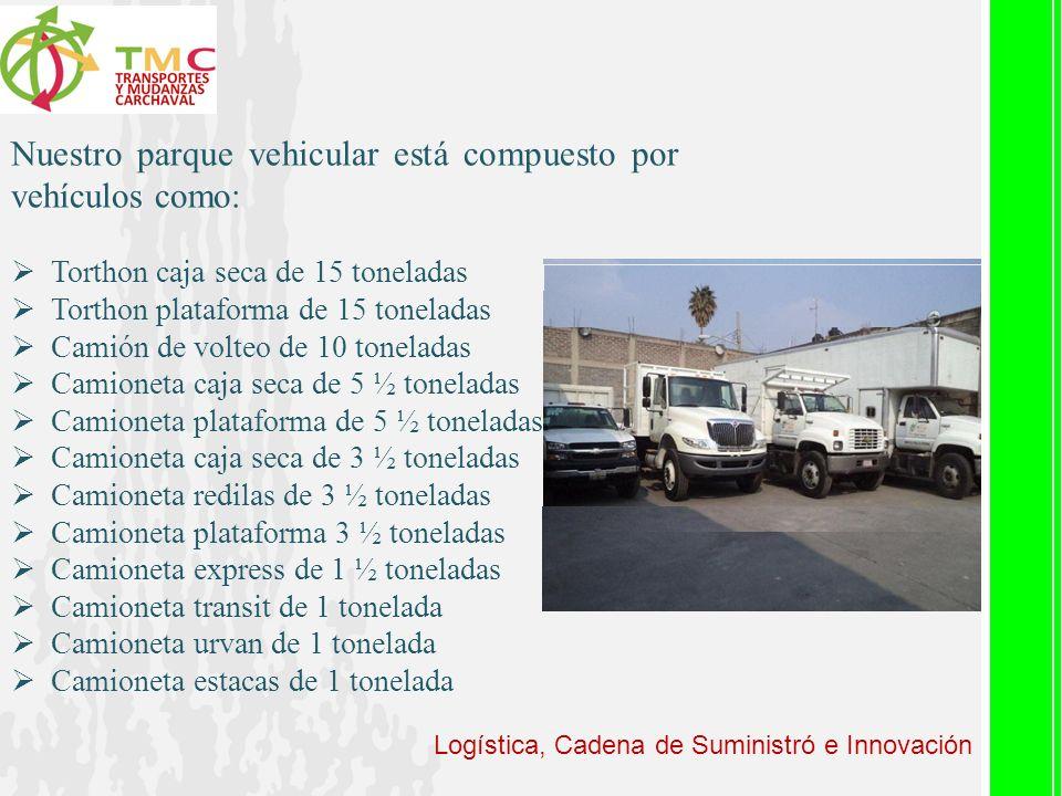 Logística, Cadena de Suministró e Innovación Nuestro parque vehicular está compuesto por vehículos como: Torthon caja seca de 15 toneladas Torthon pla