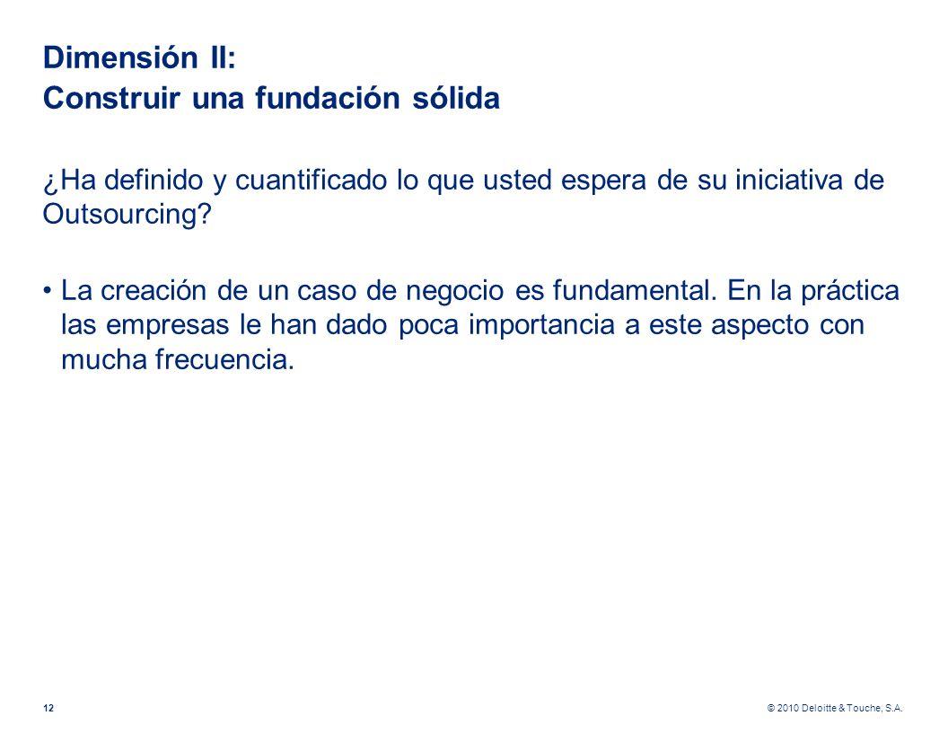© 2010 Deloitte & Touche, S.A. Dimensión II: Construir una fundación sólida ¿Ha definido y cuantificado lo que usted espera de su iniciativa de Outsou