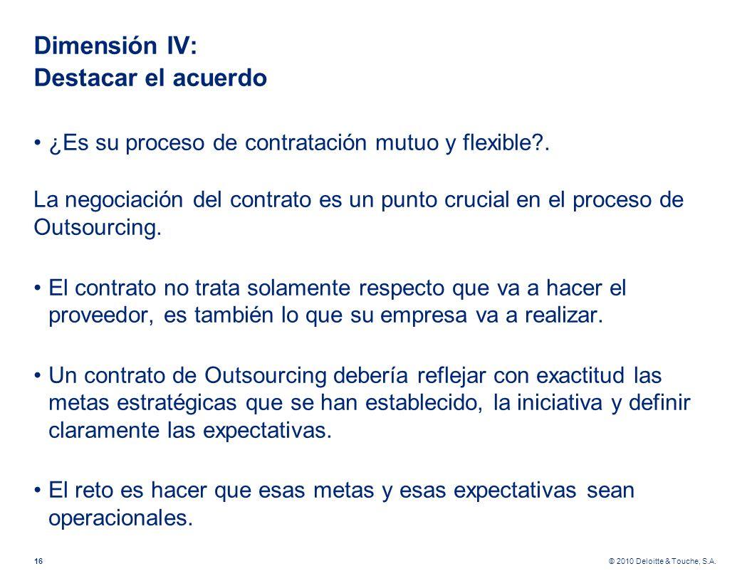 © 2010 Deloitte & Touche, S.A. Dimensión IV: Destacar el acuerdo ¿Es su proceso de contratación mutuo y flexible?. La negociación del contrato es un p