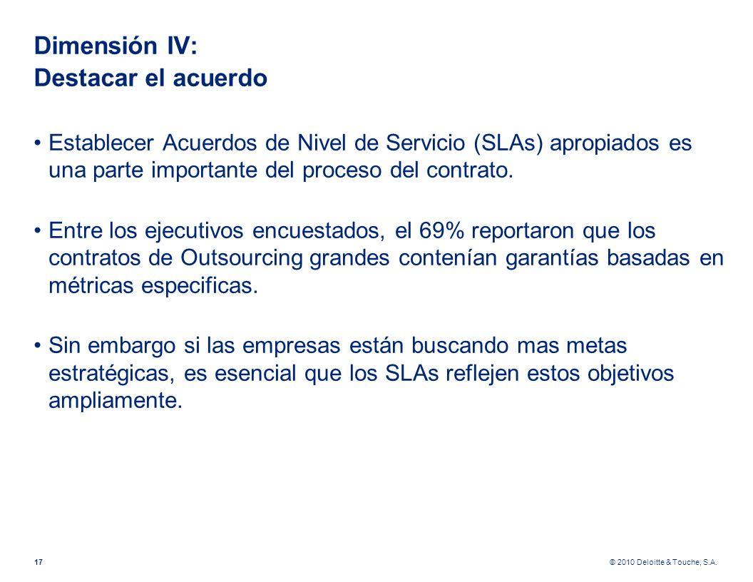 © 2010 Deloitte & Touche, S.A. Dimensión IV: Destacar el acuerdo Establecer Acuerdos de Nivel de Servicio (SLAs) apropiados es una parte importante de