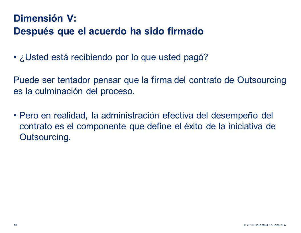 © 2010 Deloitte & Touche, S.A. Dimensión V: Después que el acuerdo ha sido firmado ¿Usted está recibiendo por lo que usted pagó? Puede ser tentador pe