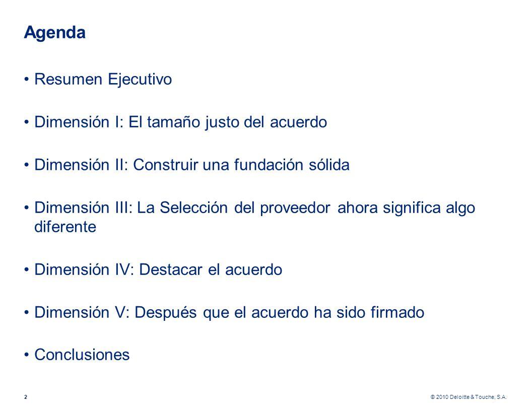 © 2010 Deloitte & Touche, S.A. Agenda Resumen Ejecutivo Dimensión I: El tamaño justo del acuerdo Dimensión II: Construir una fundación sólida Dimensió