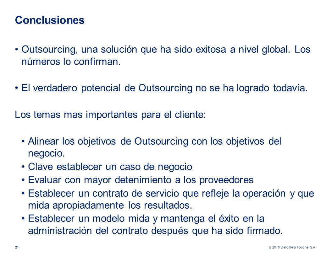 © 2010 Deloitte & Touche, S.A. Conclusiones Outsourcing, una solución que ha sido exitosa a nivel global. Los números lo confirman. El verdadero poten