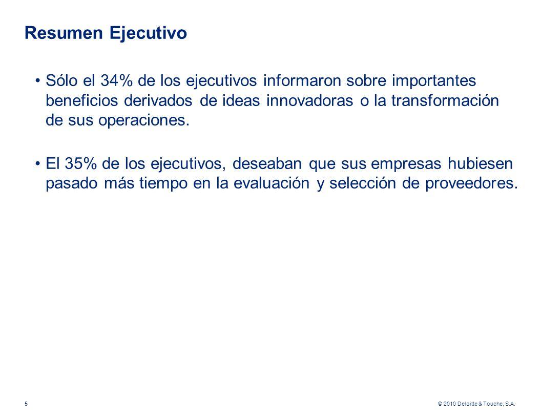 © 2010 Deloitte & Touche, S.A. Resumen Ejecutivo Sólo el 34% de los ejecutivos informaron sobre importantes beneficios derivados de ideas innovadoras
