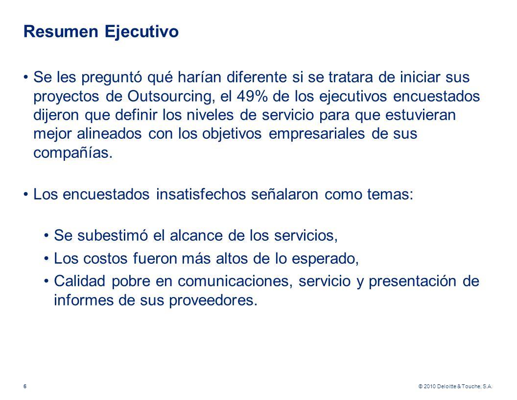 © 2010 Deloitte & Touche, S.A. Resumen Ejecutivo Se les preguntó qué harían diferente si se tratara de iniciar sus proyectos de Outsourcing, el 49% de