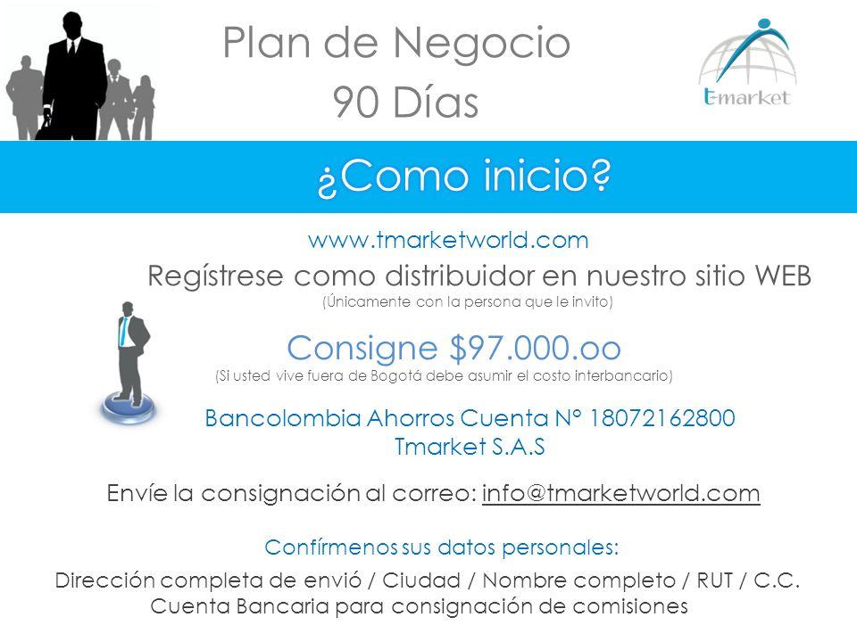 Plan de Negocio 90 Días www.tmarketworld.com Regístrese como distribuidor en nuestro sitio WEB (Únicamente con la persona que le invito) Bancolombia A