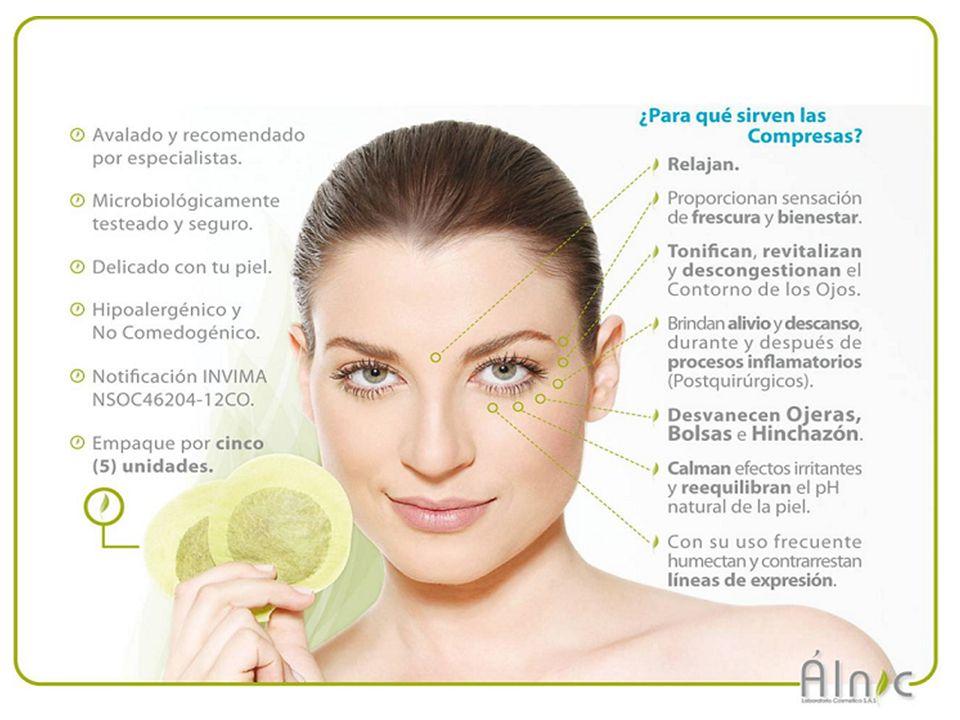Nuestro Producto Compresa en forma de anteojos que encierra una mezcla de plantas debidamente seleccionadas, deshidratadas y tratadas para uso cosmético en cantidades balanceadas y aprobadas por planta.