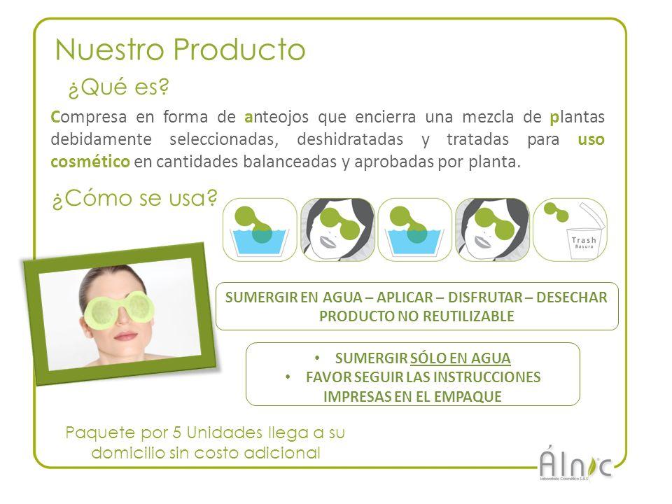 Nuestro Producto Compresa en forma de anteojos que encierra una mezcla de plantas debidamente seleccionadas, deshidratadas y tratadas para uso cosméti