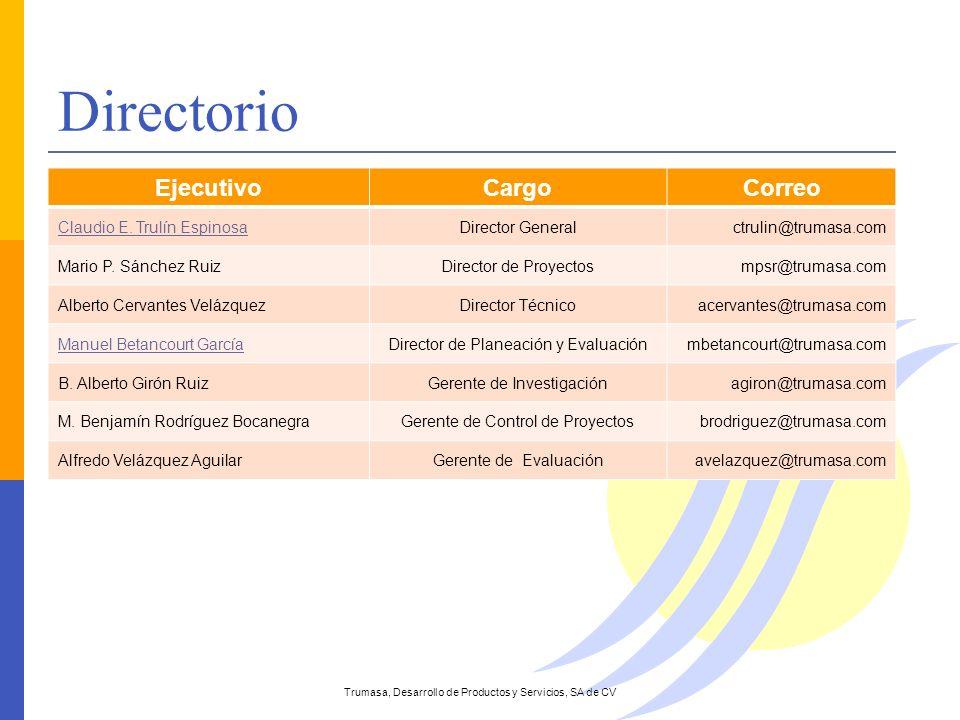 EjecutivoCargoCorreo Claudio E. Trulín EspinosaDirector Generalctrulin@trumasa.com Mario P. Sánchez RuizDirector de Proyectosmpsr@trumasa.com Alberto