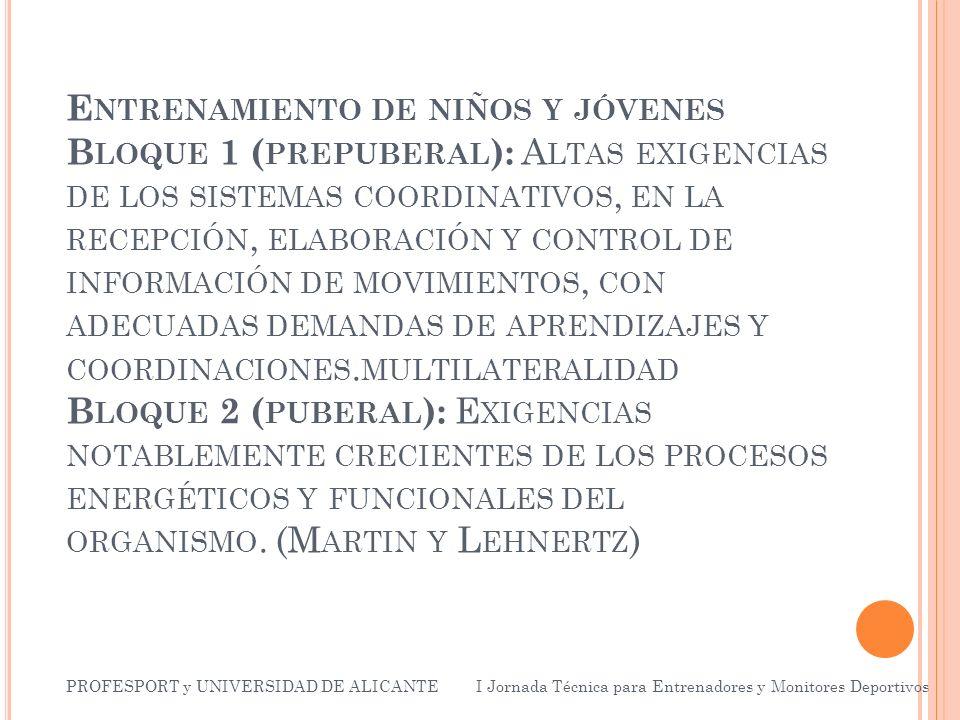 E NTRENAMIENTO DE NIÑOS Y JÓVENES B LOQUE 1 ( PREPUBERAL ): A LTAS EXIGENCIAS DE LOS SISTEMAS COORDINATIVOS, EN LA RECEPCIÓN, ELABORACIÓN Y CONTROL DE INFORMACIÓN DE MOVIMIENTOS, CON ADECUADAS DEMANDAS DE APRENDIZAJES Y COORDINACIONES.