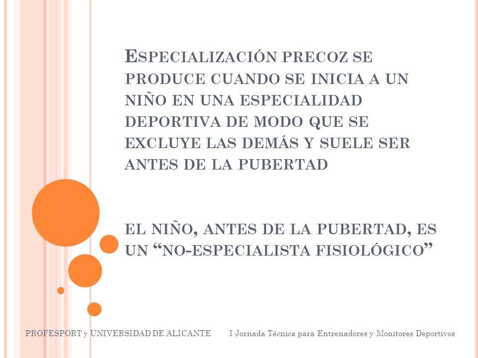 E SPECIALIZACIÓN PRECOZ SE PRODUCE CUANDO SE INICIA A UN NIÑO EN UNA ESPECIALIDAD DEPORTIVA DE MODO QUE SE EXCLUYE LAS DEMÁS Y SUELE SER ANTES DE LA PUBERTAD EL NIÑO, ANTES DE LA PUBERTAD, ES UN NO - ESPECIALISTA FISIOLÓGICO PROFESPORT y UNIVERSIDAD DE ALICANTE I Jornada Técnica para Entrenadores y Monitores Deportivos