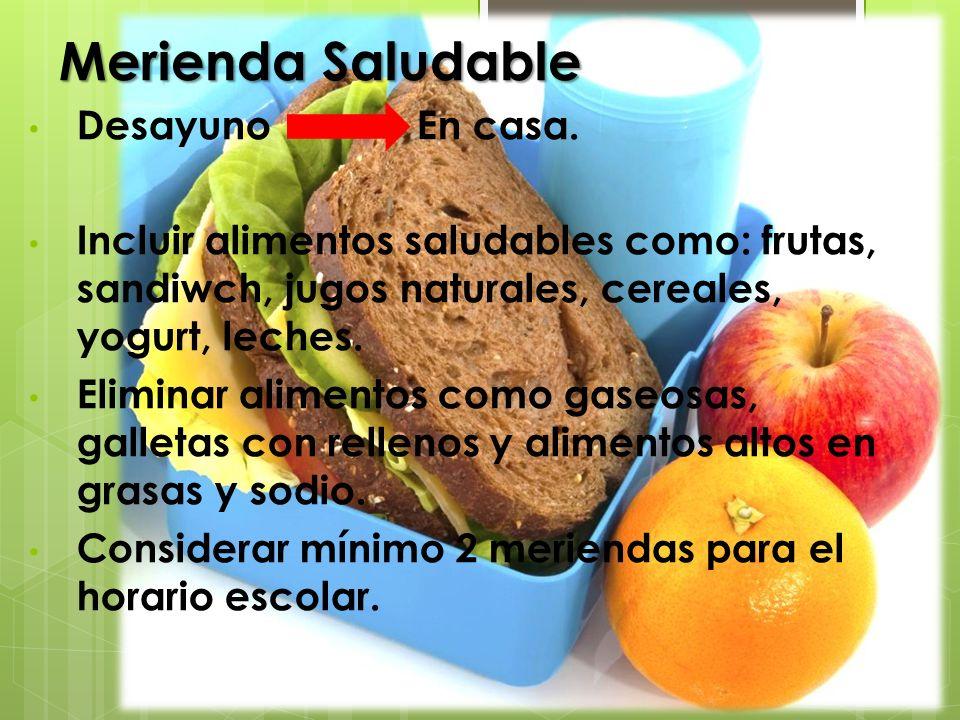 Merienda Saludable Desayuno En casa. Incluir alimentos saludables como: frutas, sandiwch, jugos naturales, cereales, yogurt, leches. Eliminar alimento