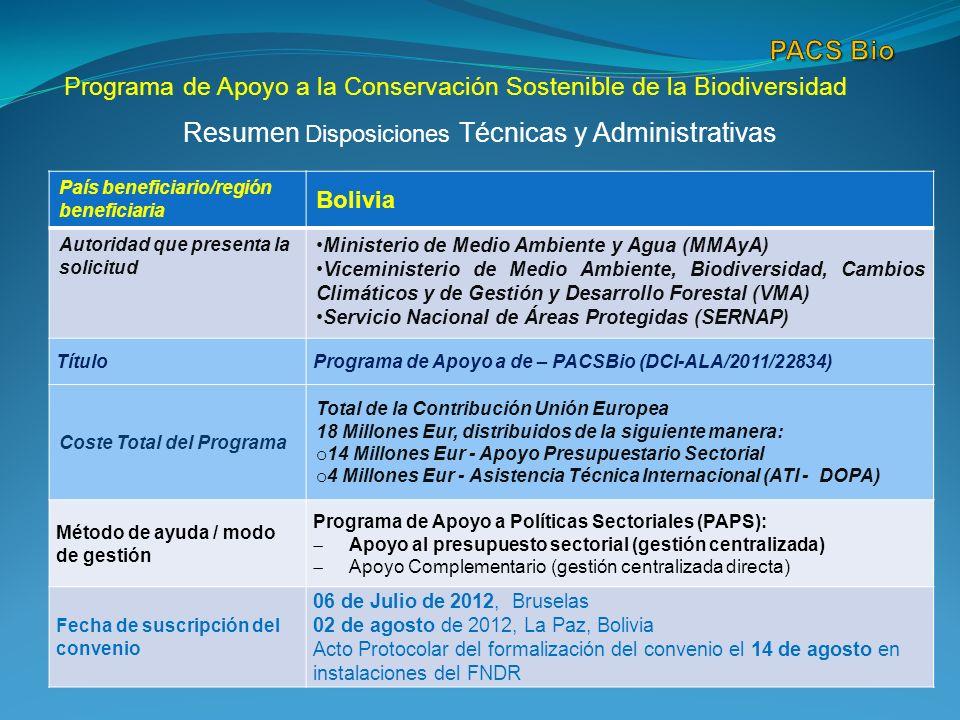 Programa de Apoyo a la Conservación Sostenible de la Biodiversidad Resumen Disposiciones Técnicas y Administrativas País beneficiario/región beneficiaria Bolivia Autoridad que presenta la solicitud Ministerio de Medio Ambiente y Agua (MMAyA) Viceministerio de Medio Ambiente, Biodiversidad, Cambios Climáticos y de Gestión y Desarrollo Forestal (VMA) Servicio Nacional de Áreas Protegidas (SERNAP) TítuloPrograma de Apoyo a de – PACSBio (DCI-ALA/2011/22834) Coste Total del Programa Total de la Contribución Unión Europea 18 Millones Eur, distribuidos de la siguiente manera: o 14 Millones Eur - Apoyo Presupuestario Sectorial o 4 Millones Eur - Asistencia Técnica Internacional (ATI - DOPA) Método de ayuda / modo de gestión Programa de Apoyo a Políticas Sectoriales (PAPS): Apoyo al presupuesto sectorial (gestión centralizada) Apoyo Complementario (gestión centralizada directa) Fecha de suscripción del convenio 06 de Julio de 2012, Bruselas 02 de agosto de 2012, La Paz, Bolivia Acto Protocolar del formalización del convenio el 14 de agosto en instalaciones del FNDR