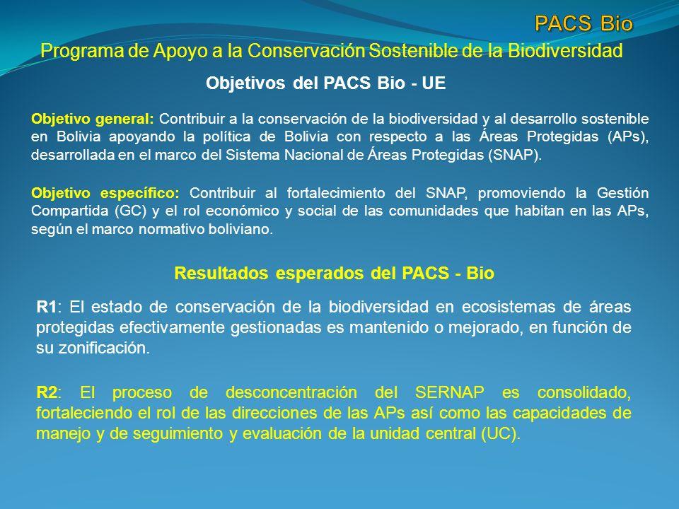 Programa de Apoyo a la Conservación Sostenible de la Biodiversidad Objetivos del PACS Bio - UE Objetivo general: Contribuir a la conservación de la biodiversidad y al desarrollo sostenible en Bolivia apoyando la política de Bolivia con respecto a las Áreas Protegidas (APs), desarrollada en el marco del Sistema Nacional de Áreas Protegidas (SNAP).