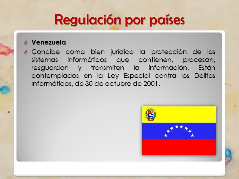 Regulación por países O Venezuela O Concibe como bien jurídico la protección de los sistemas informáticos que contienen, procesan, resguardan y transm
