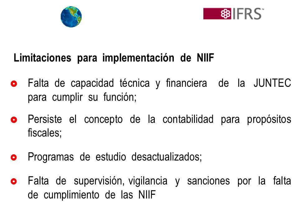 Limitaciones para implementación de NIIF Falta de capacidad técnica y financiera de la JUNTEC para cumplir su función; Persiste el concepto de la cont