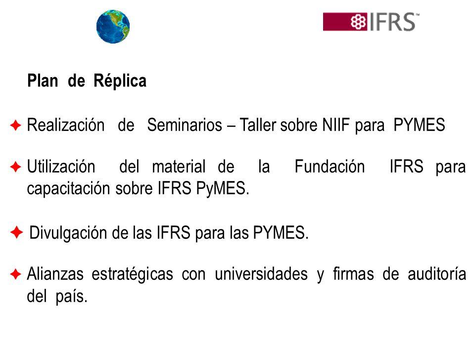 Plan de Réplica Realización de Seminarios – Taller sobre NIIF para PYMES Utilización del material de la Fundación IFRS para capacitación sobre IFRS Py