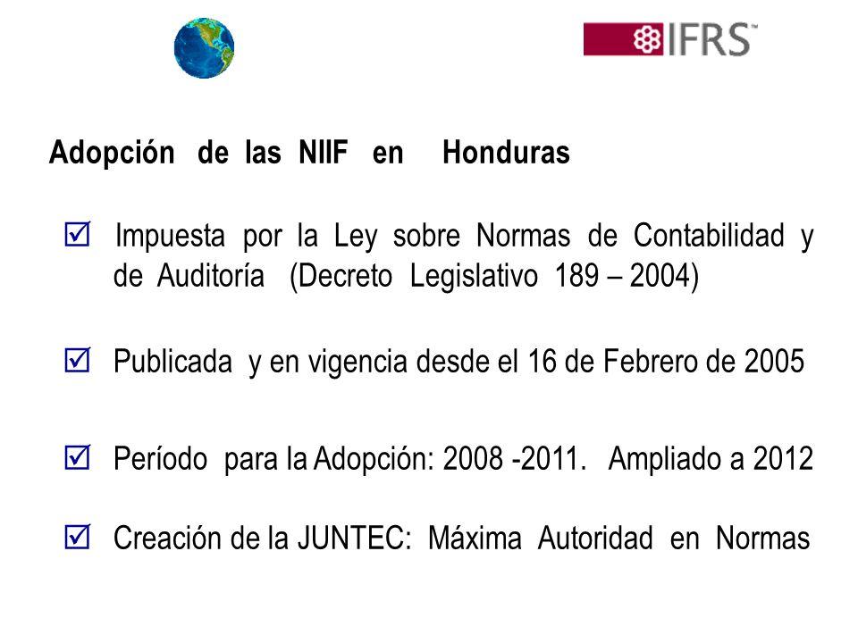 Adopción de las NIIF en Honduras Impuesta por la Ley sobre Normas de Contabilidad y de Auditoría (Decreto Legislativo 189 – 2004) Publicada y en vigen