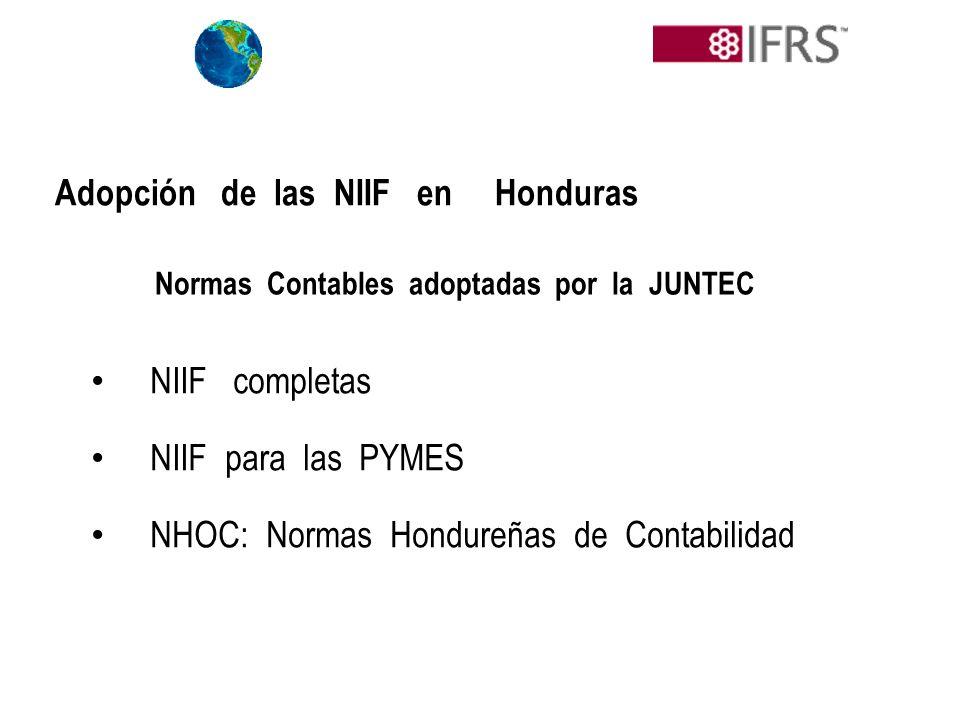 NIIF completas NIIF para las PYMES NHOC: Normas Hondureñas de Contabilidad Adopción de las NIIF en Honduras Normas Contables adoptadas por la JUNTEC