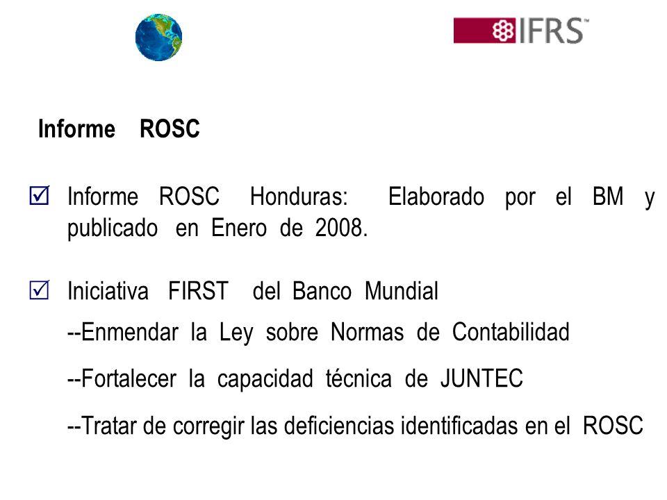 Informe ROSC Honduras: Elaborado por el BM y publicado en Enero de 2008. Informe ROSC Iniciativa FIRST del Banco Mundial --Enmendar la Ley sobre Norma