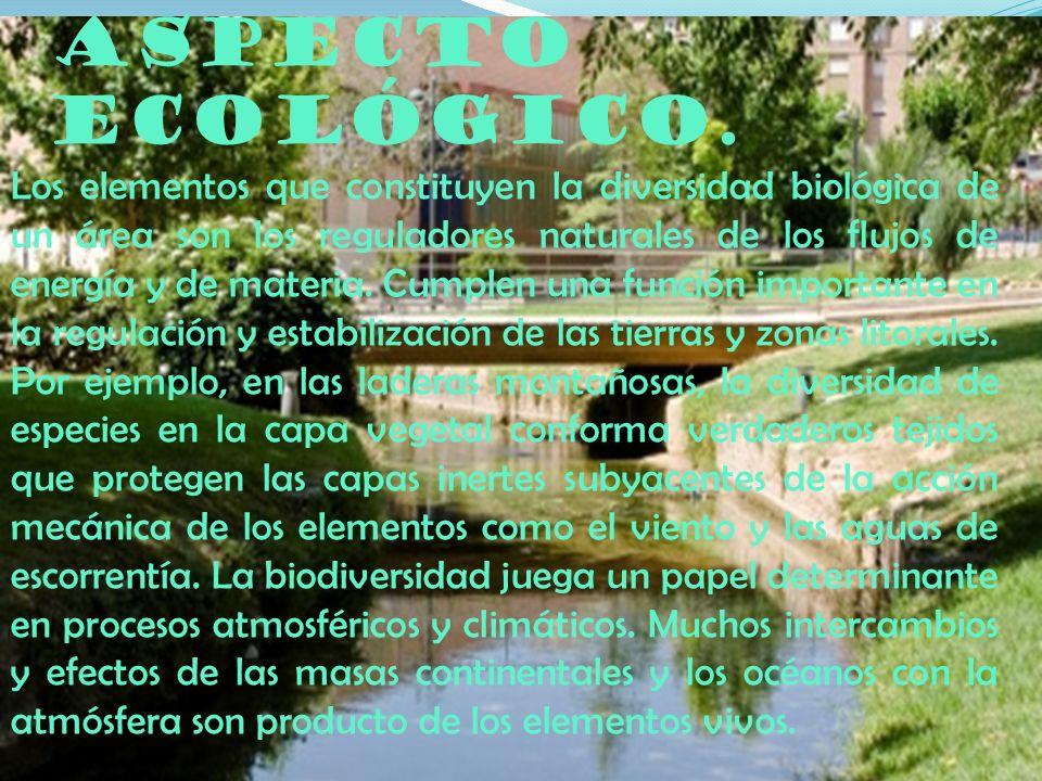 Aspecto ecológico. Los elementos que constituyen la diversidad biológica de un área son los reguladores naturales de los flujos de energía y de materi