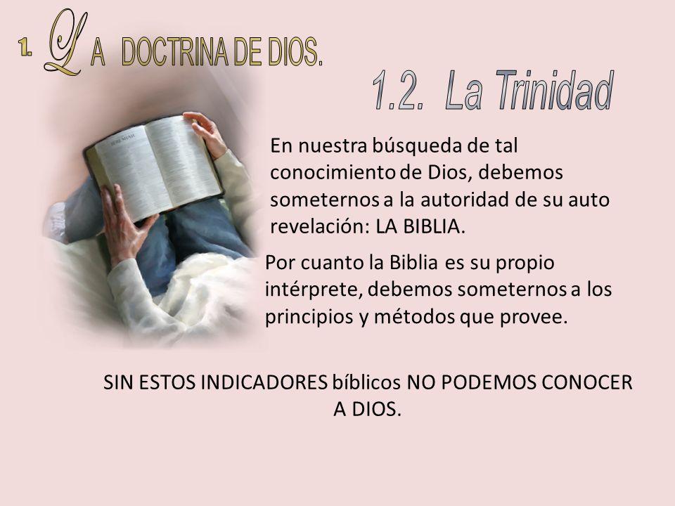 En nuestra búsqueda de tal conocimiento de Dios, debemos someternos a la autoridad de su auto revelación: LA BIBLIA. Por cuanto la Biblia es su propio