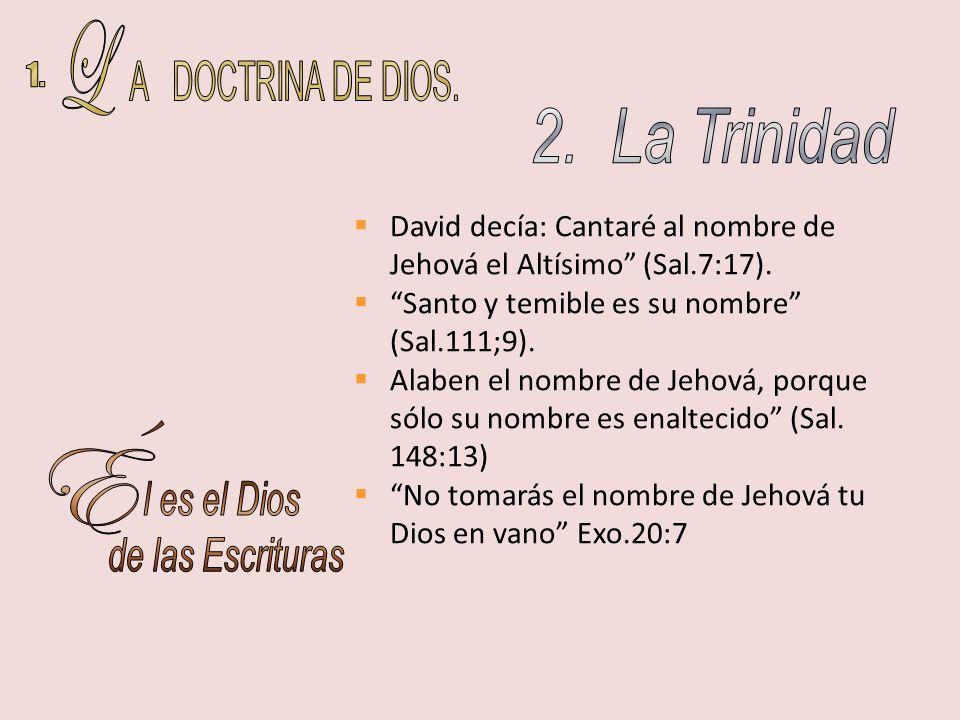 David decía: Cantaré al nombre de Jehová el Altísimo (Sal.7:17). Santo y temible es su nombre (Sal.111;9). Alaben el nombre de Jehová, porque sólo su