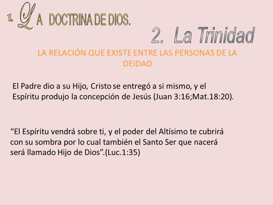 LA RELACIÓN QUE EXISTE ENTRE LAS PERSONAS DE LA DEIDAD El Padre dio a su Hijo, Cristo se entregó a si mismo, y el Espíritu produjo la concepción de Je