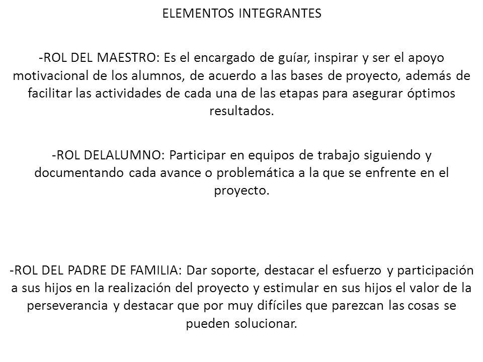 ELEMENTOS INTEGRANTES -ROL DEL MAESTRO: Es el encargado de guíar, inspirar y ser el apoyo motivacional de los alumnos, de acuerdo a las bases de proye