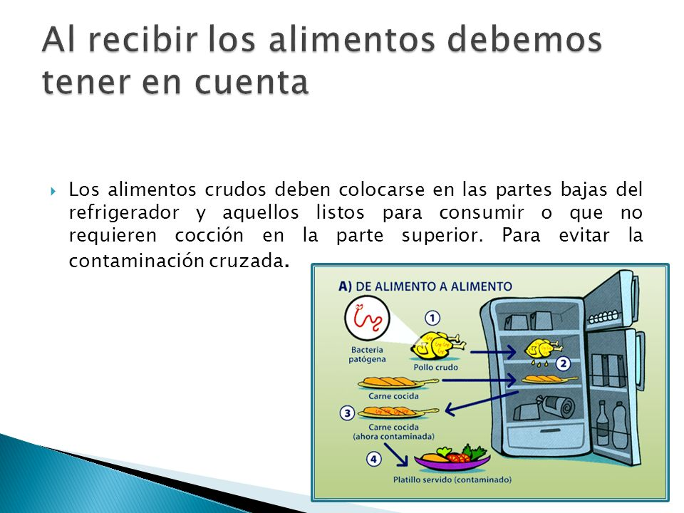 Los alimentos crudos deben colocarse en las partes bajas del refrigerador y aquellos listos para consumir o que no requieren cocción en la parte super