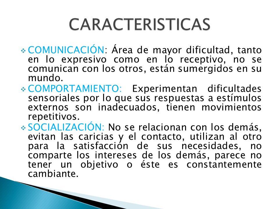 COMUNICACIÓN: Área de mayor dificultad, tanto en lo expresivo como en lo receptivo, no se comunican con los otros, están sumergidos en su mundo. COMPO